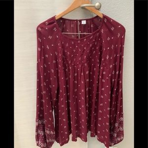 Old navy burgundy blouse 2x